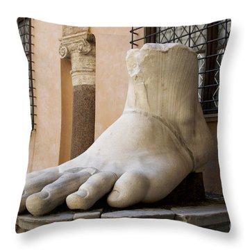 Giant Foot From Emperor Constantine Statue. Capitoline Museum. R Throw Pillow by Bernard Jaubert