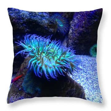 Giant Green Sea Anemone Throw Pillow by Mariola Bitner
