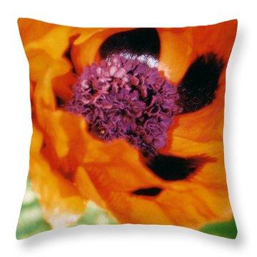 Giant Orange Poppy Throw Pillow