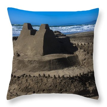 Giant Sand Castle Throw Pillow by Garry Gay