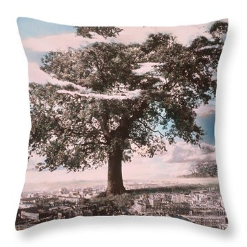 Giant Tree In City Throw Pillow by Hag