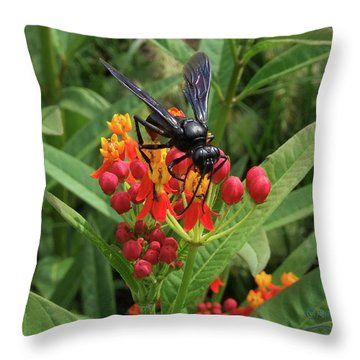 Giant Wasp Throw Pillow