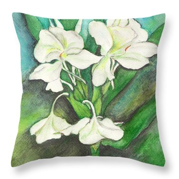 Ginger Lilies Throw Pillow by Carla Parris