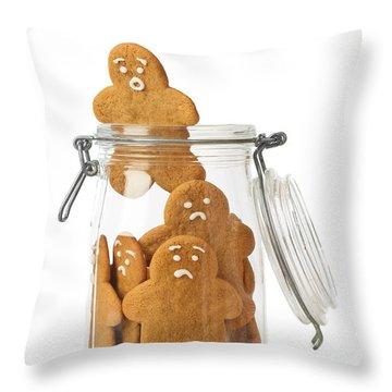 Gingerbread Men Escape Throw Pillow by Amanda Elwell