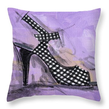 Gingham Girl Throw Pillow by Richard De Wolfe