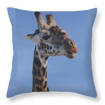 Throw Pillow featuring the photograph Giraffe Headshot by Tom Wurl