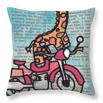 Giraffe On A Motorcycle Throw Pillow by Jera Sky