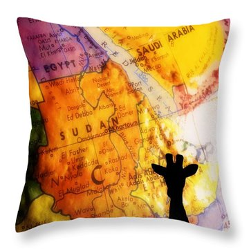 Giraffe Silhouette With Map Background Throw Pillow by Chris Knorr