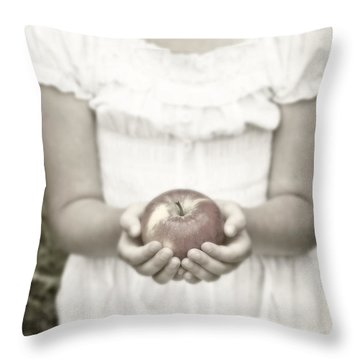 Girl And Apple Throw Pillow by Joana Kruse