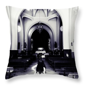 Girl In The Church Throw Pillow by Jenny Rainbow