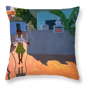 Girl Skipping Throw Pillow by Andrew Macara