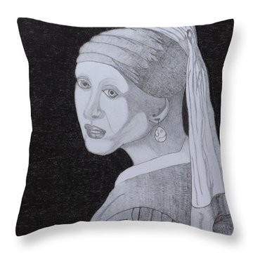 Throw Pillow featuring the drawing Girl With A Pearl Earring by Gerald Strine