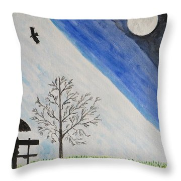 Throw Pillow featuring the painting Girl With A Umbrella by Sonali Gangane