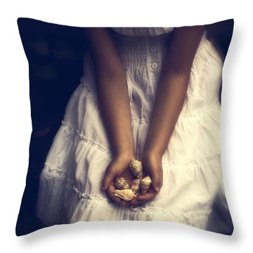Girl With Sea Shells Throw Pillow by Joana Kruse