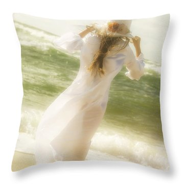 Girl With Sun Hat Throw Pillow by Joana Kruse