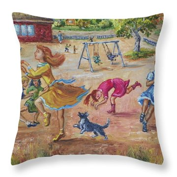 Girls Playing Horse Throw Pillow