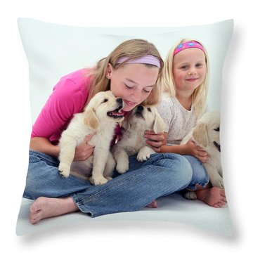 Girls With Puppies Throw Pillow by Jane Burton