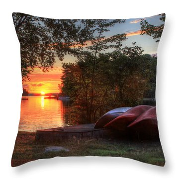 Give Me A Canoe Throw Pillow by Lori Deiter