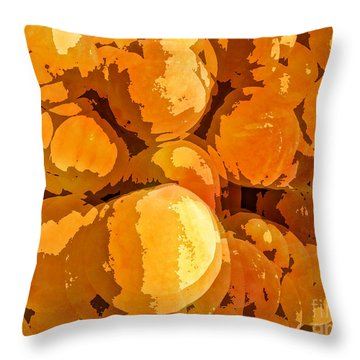 Give Peach A Chance Throw Pillow by Jim Moore