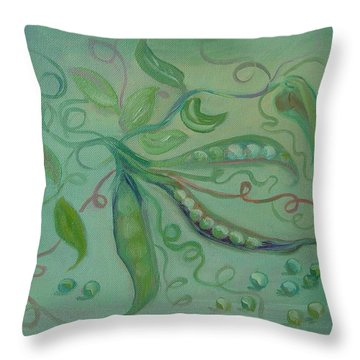 Throw Pillow featuring the painting Give Peas A Chance by Carol Berning