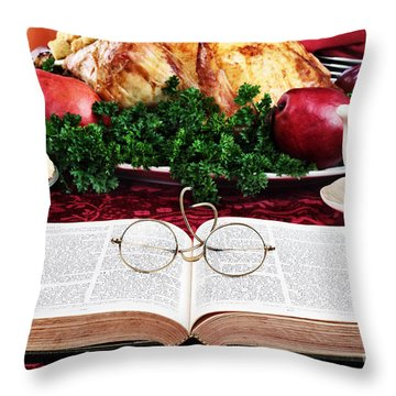 Giving Thanks Throw Pillow by Stephanie Frey