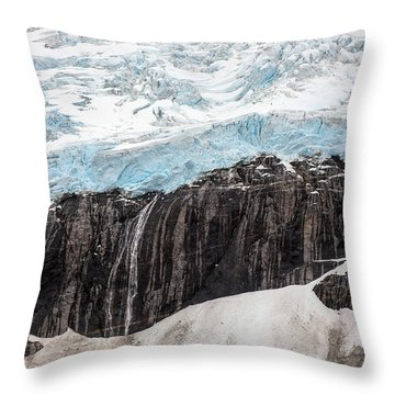 Glacial Edge Waterfall Throw Pillow