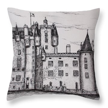 Glamis Castle Throw Pillow by Sheep McTavish