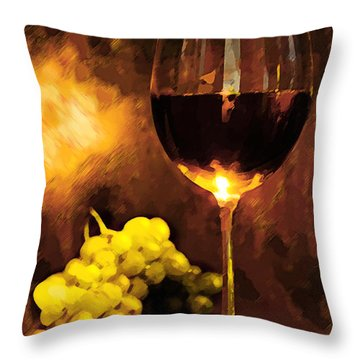 Glass Of Wine And Green Grapes By Candlelight Throw Pillow by Elaine Plesser