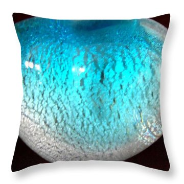 Glass Orb Blue Throw Pillow by Randall Weidner