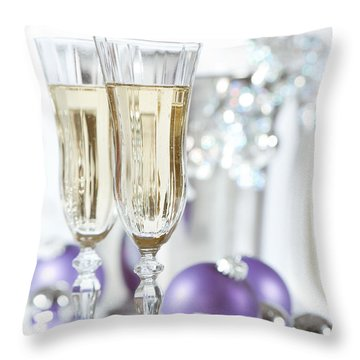Glasses Of Champagne Throw Pillow by Amanda Elwell