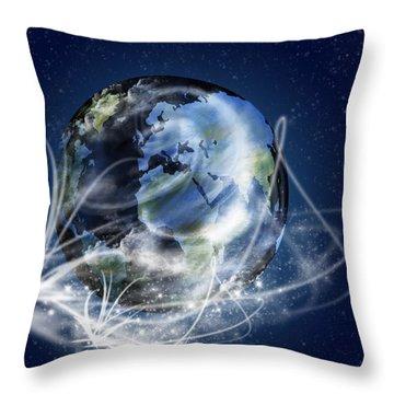 Globe Throw Pillow by Setsiri Silapasuwanchai