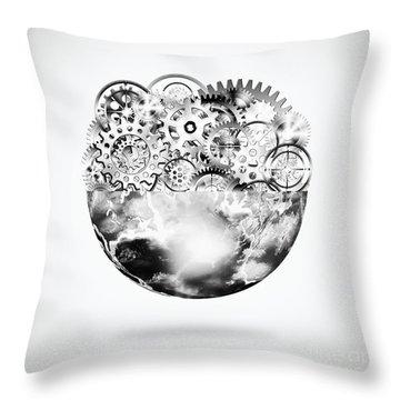 Globe With Cogs And Gears Throw Pillow by Setsiri Silapasuwanchai