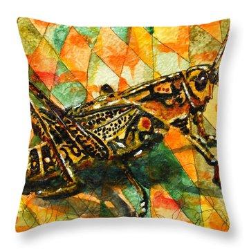 Glorious Grasshopper Throw Pillow by Miriam  Schulman