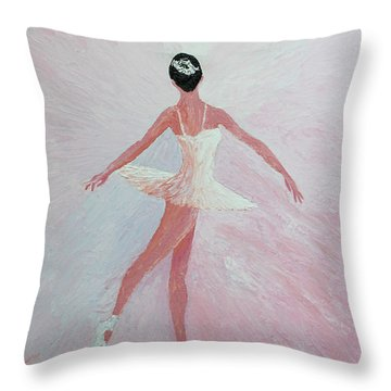 Glowing Ballerina Original Palette Knife  Throw Pillow