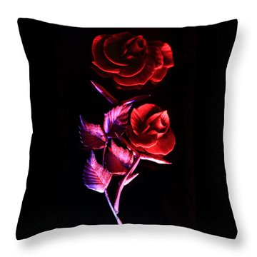 Glowing Glass Rose Throw Pillow