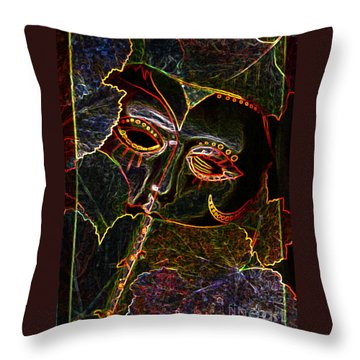 Throw Pillow featuring the relief Glowing Mask With Leaves by Nareeta Martin