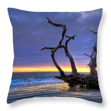 Glowing Sands At Driftwood Beach Throw Pillow by Debra and Dave Vanderlaan
