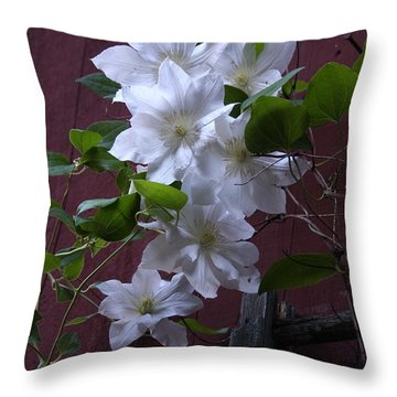 Glowing White Clematis Throw Pillow