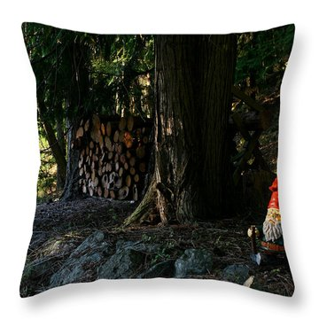 Gnome And The Woodpile Throw Pillow