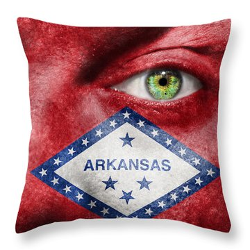 Go Arkansas  Throw Pillow by Semmick Photo