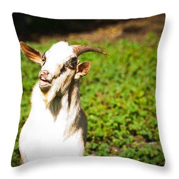 Goat Smiles Throw Pillow