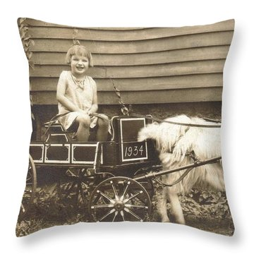 Throw Pillow featuring the photograph Goat Wagon by Bonfire Photography