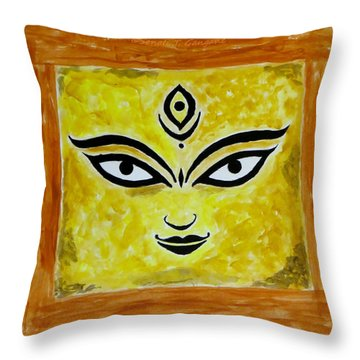 Throw Pillow featuring the painting Goddess Kali by Sonali Gangane