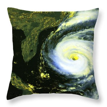 Goes 8 Satellite Image Of Hurricane Fran Throw Pillow by Science Source