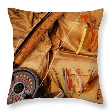 Goin Fishin Throw Pillow by Skip Willits