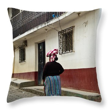 Going Home From The Market Throw Pillow by Douglas Barnett
