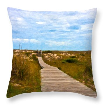 Going To The Beach Throw Pillow by Betsy Knapp
