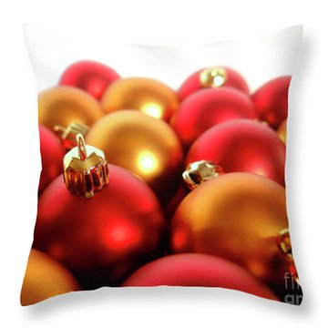 Gold And Red Xmas Balls Throw Pillow by Carlos Caetano