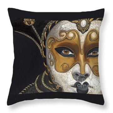 Gold Carnival Mask Throw Pillow by Patty Vicknair