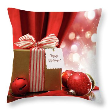 Gold Christmas Gift Box And Ornaments With Sparkle Lights  Throw Pillow by Sandra Cunningham